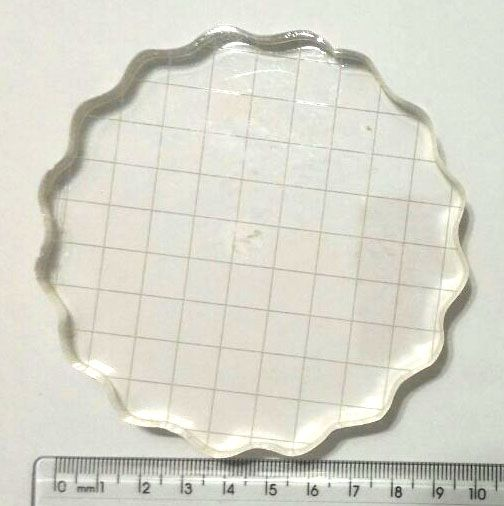 Base Acrílica Redonda c/ Grid 10 cm