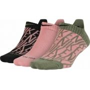 Meia Nike Feminina - Dri-FIT Cotton - Musgo/Rosa , Rosa , Preto/Rosa - Embalagem com 3 unidades -