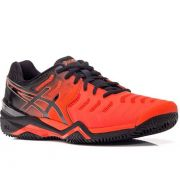Tênis Asics Gel Resolution 7 - Laranja e Preto - Clay