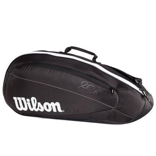 Raqueteira Wilson ESP Federer Team X3 Preta e Branca