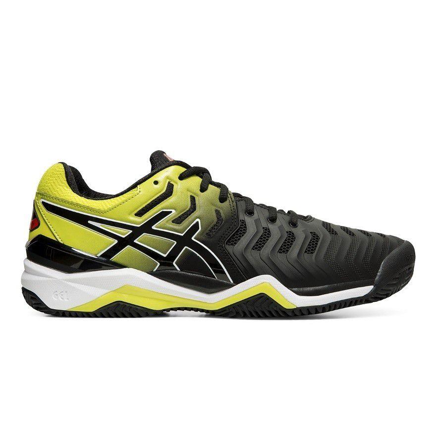 Tênis Asics Gel Resolution 7 Clay Preto e Amarelo Limão