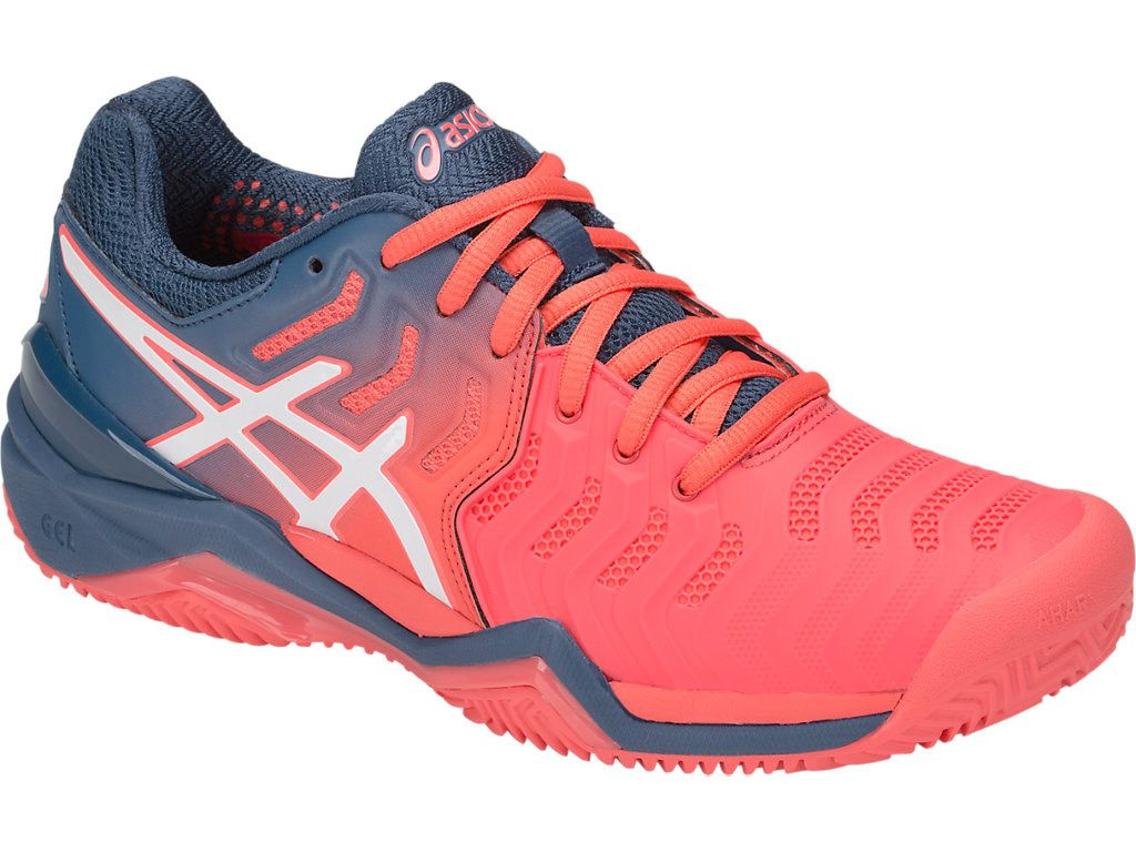 e83906b3f Tênis Asics Gel Resolution 7 - Feminino - Azul e Papaia - Clay - PROTENISTA  ...