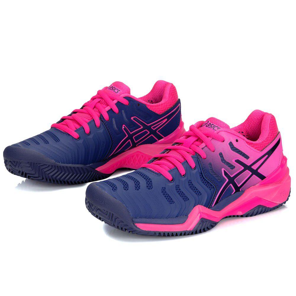 Tênis Asics Gel Resolution 7 - Feminino - Azul e Pink - Clay