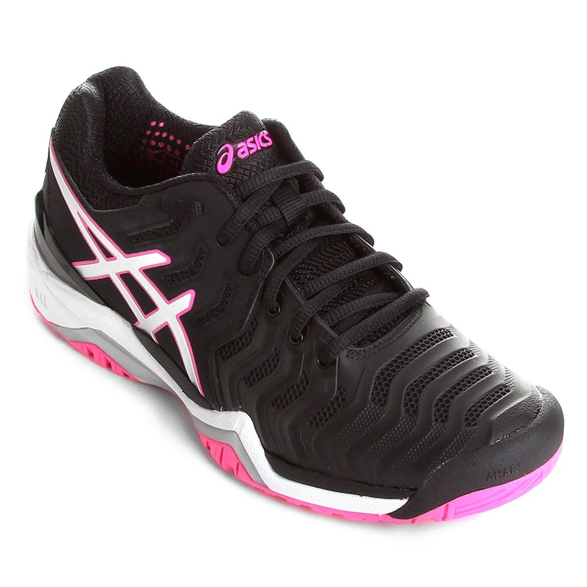 Tênis Asics Gel Resolution 7 - Feminino - Preto e Rosa