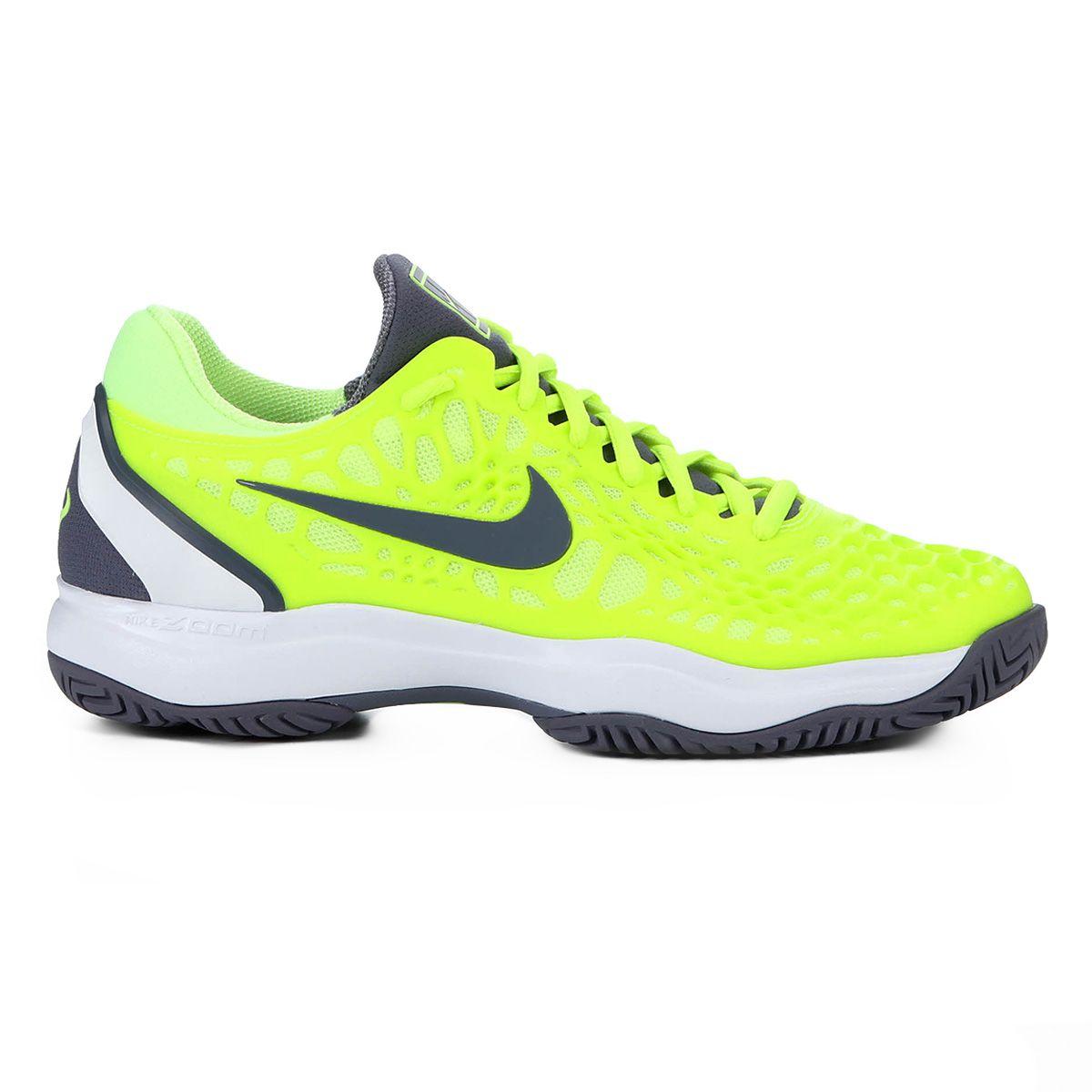 Tênis Nike Air Zoom Cage 3 HC Rafa Amarelo Limão e Cinza