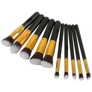 Kit 10 pincéis de precisão preto com dourado