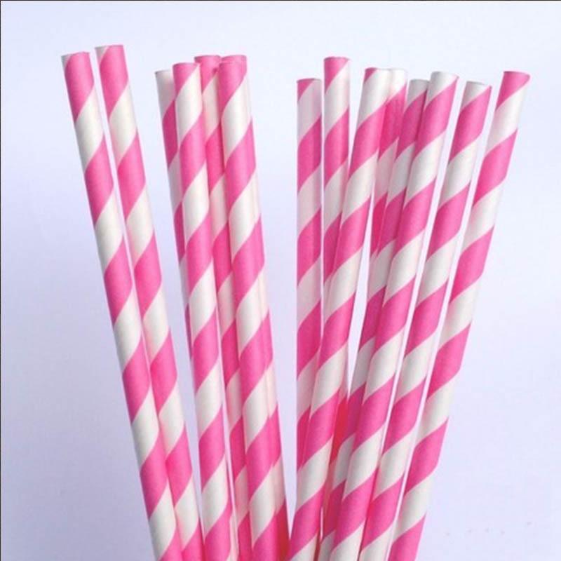 20 Canudos de Papel Listras Rosa Pink Pacote