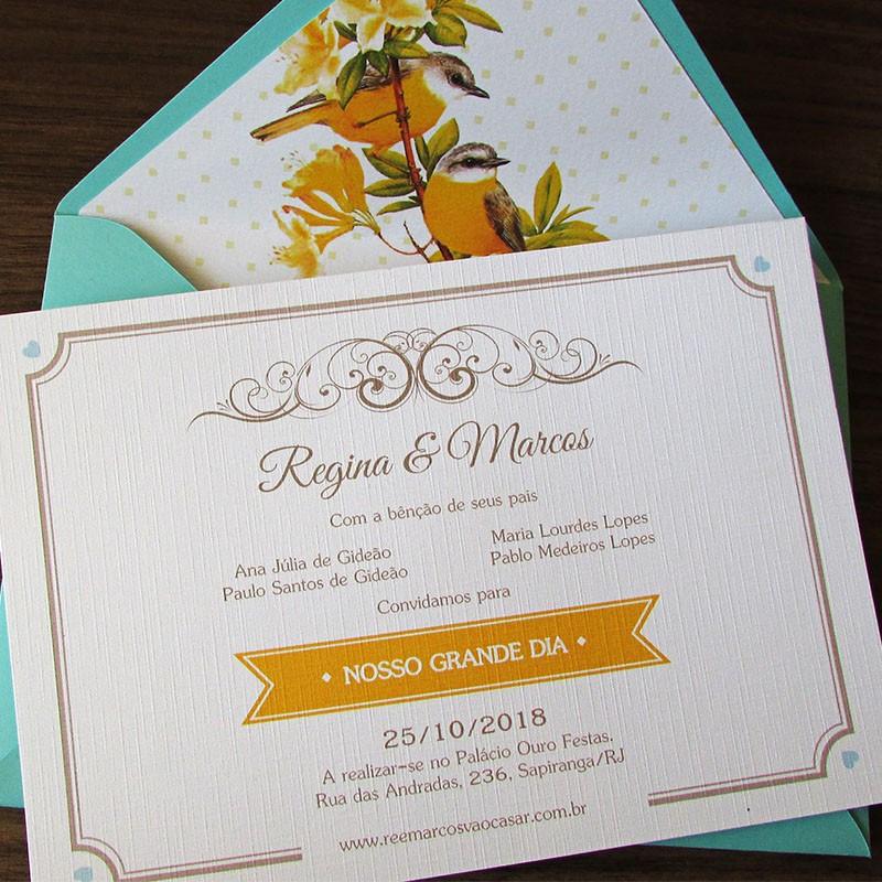 Convite casamento Canário