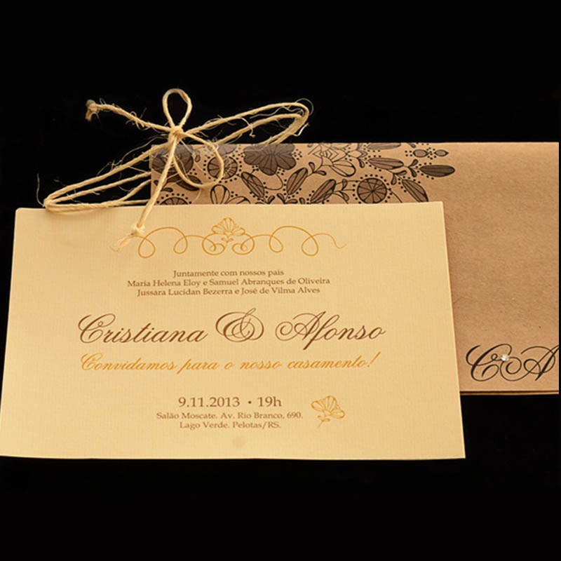 Convite Casamento Floral Kraft