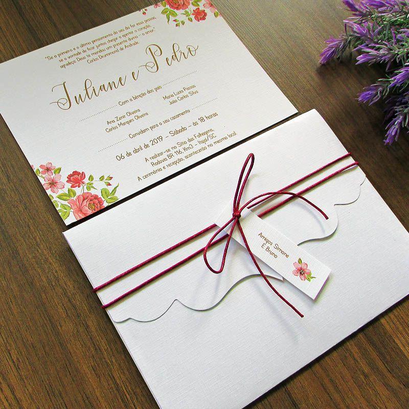 Convite Casamento Provençal Cereja