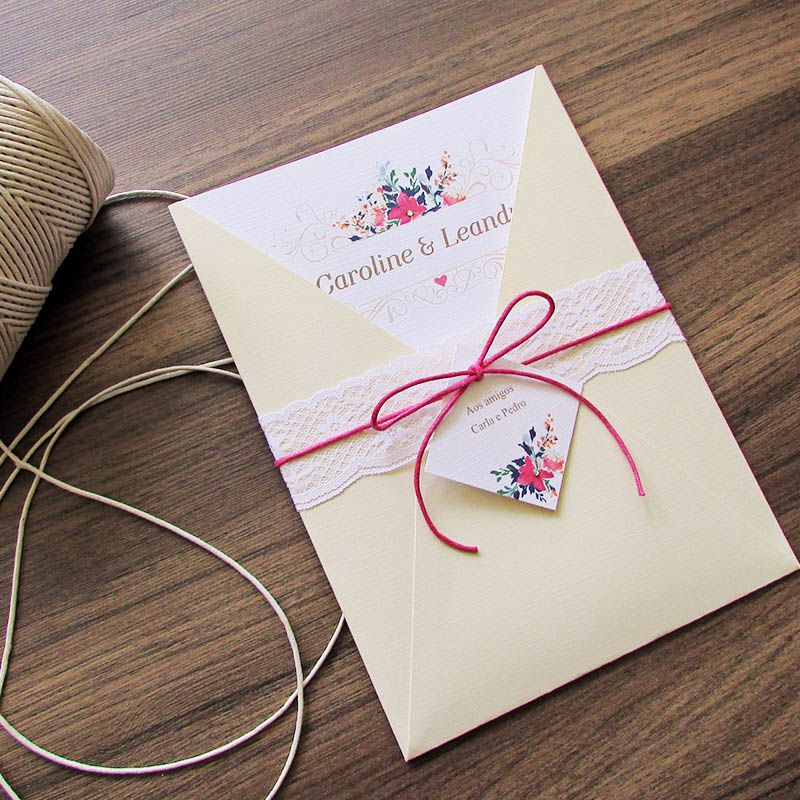 Convite Casamento Rendado Caroline