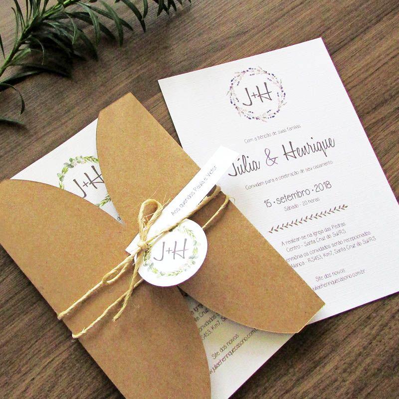 Convite Casamento Rústico Clean