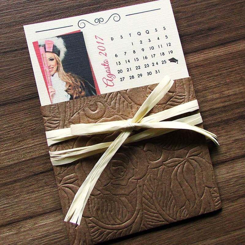 Convite formatura mini calendário