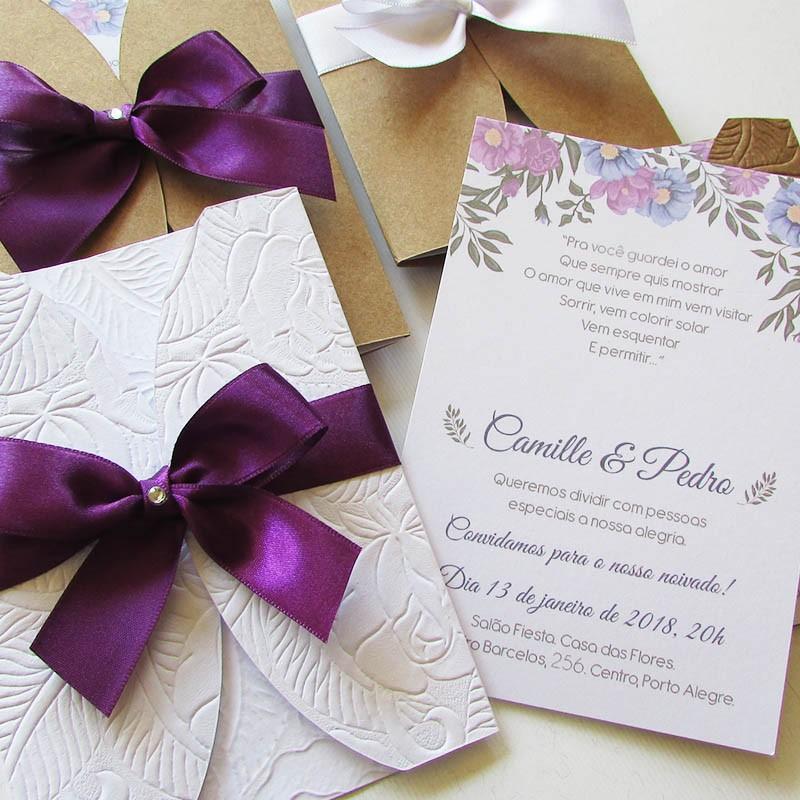 Convite noivado Lavanda - 10 un