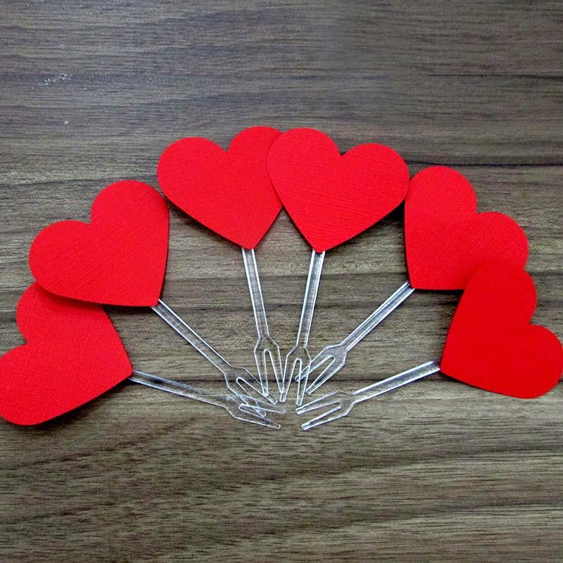 Kit Topper corações vermelhos 20un