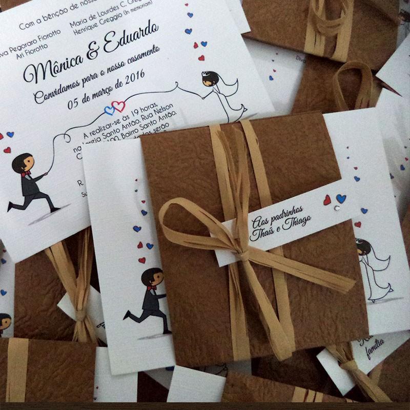 Mini Convite Casamento Noivinhos