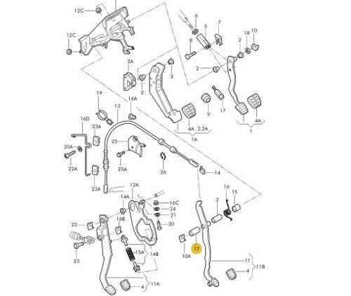 Bucha Mancal Pedal Embreagem Gol Parati Original Vw
