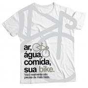 Camiseta Adulto Ar, Água, Comida, sua Bike Branca MC