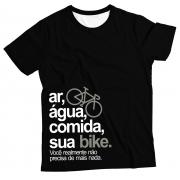 Camiseta Adulto Ar, Água, Comida, sua Bike Preto MC