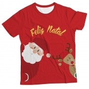 Camiseta Adulto Natal Feliz Vermelho MC