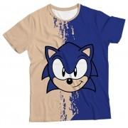 Camiseta Infantil Sonic Bege e Azul MC