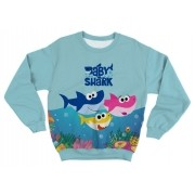 Moletom Infantil Baby Shark Azul Claro