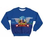 Moletom Infantil Sonic Mania Azul