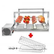 Churrasqueira Gira Grill Inox 4 Espetos Giratórios + Grelha Giratória