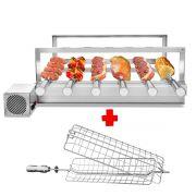 Churrasqueira Gira Grill Inox 6 Espetos Giratórios  + 1 Grelha