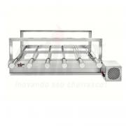 CÓPIA - Churrasqueira Gira Grill Inox 6 Espetos Giratórios Motor LADO DIREITO Bivolt  + 1 Espeto Picanheiro