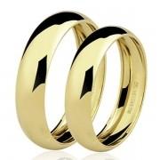 Par de alianças de ouro 18k - 1 pedra de brilhante na feminina
