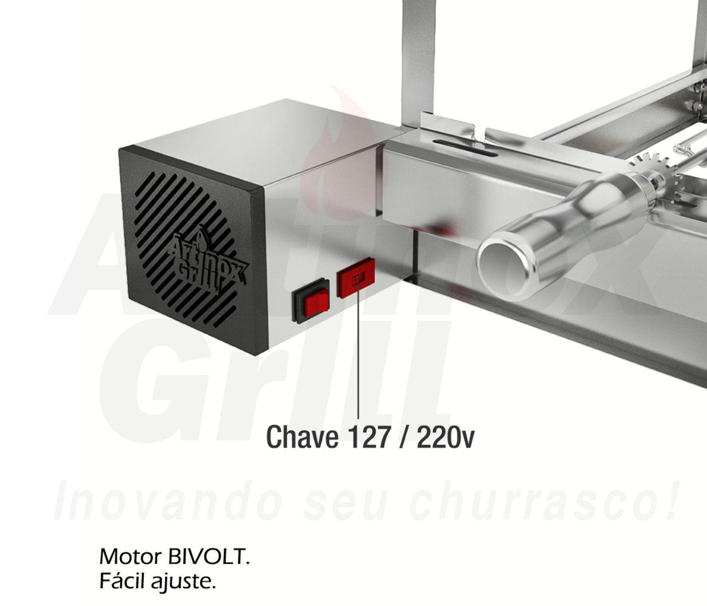 Churrasqueira Gira Grill Inox 11 Espetos Giratórios - 2 Andares e 2 Motores Bivolt