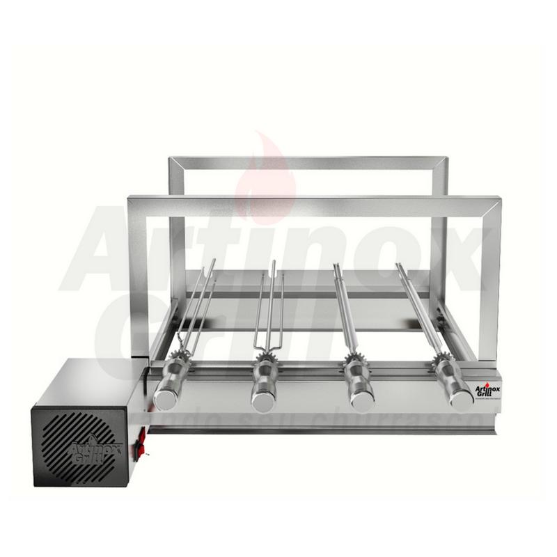 Churrasqueira Gira Grill Inox Elétrica 4 Espetos Giratórios Motor Bivolt