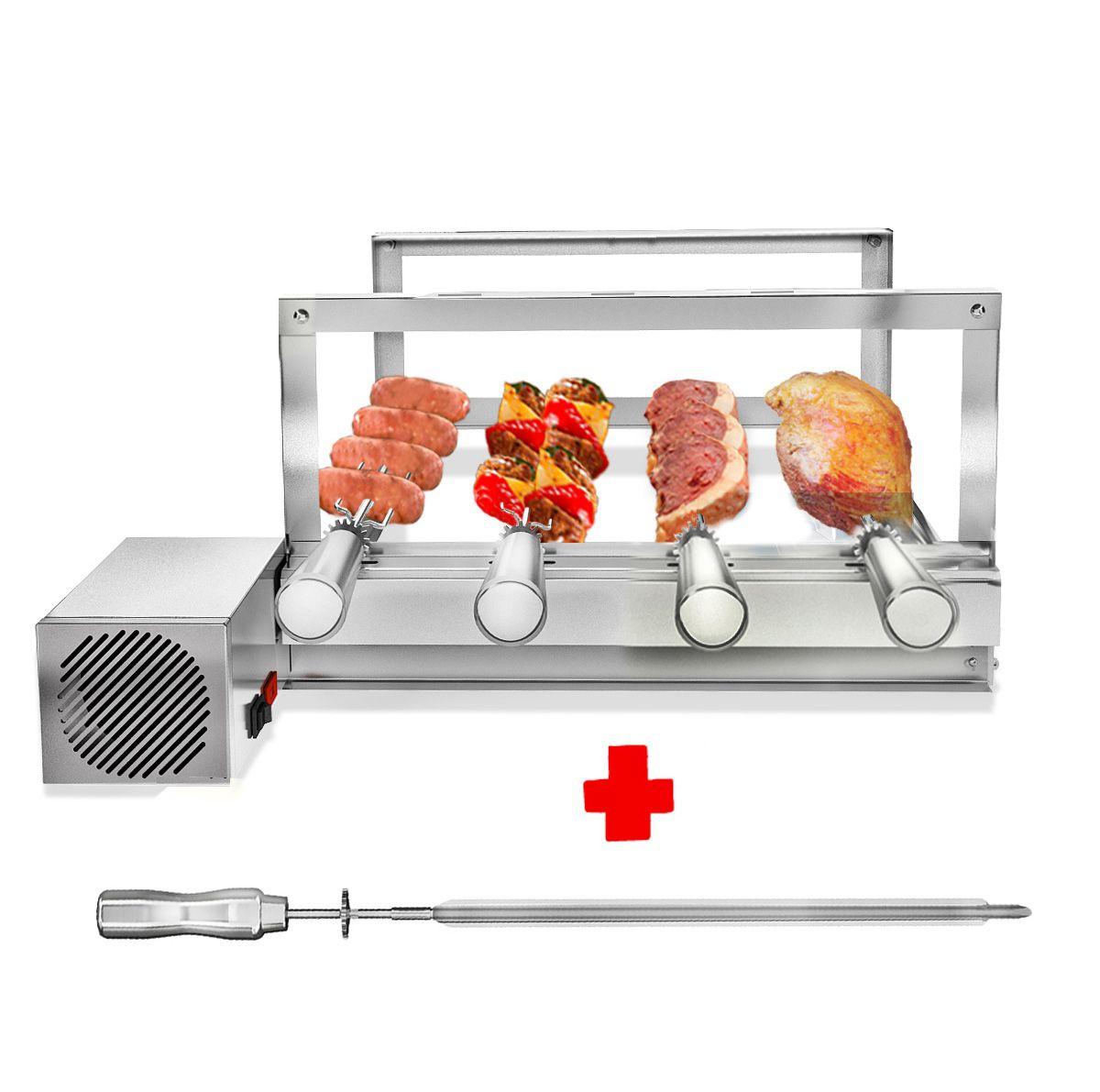 Churrasqueira Gira Grill Inox 4 Espetos Giratórios Motor Bivolt + 1 Espetos Picanheiro