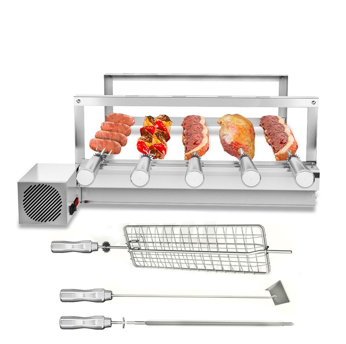 Churrasqueira Gira Grill  5 Espetos Giratórios 100% Inox MOTOR LADO DIREITO + 3 Acessórios