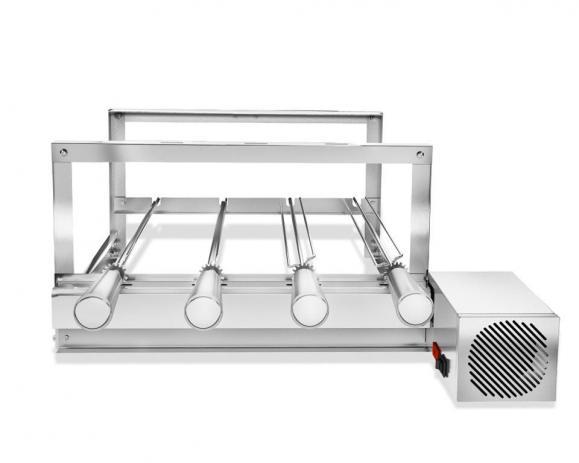 Churrasqueira Gira Grill Inox 4 Espetos Giratórios Motor LADO DIREITO Bivolt + 1 Espetos Picanheiro