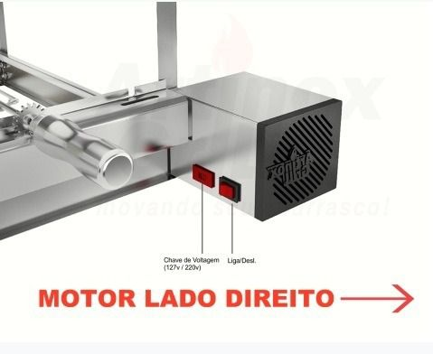 Churrasqueira Gira Grill Inox 4 Espetos Giratórios MOTOR LADO DIREITO + Grelha Giratória
