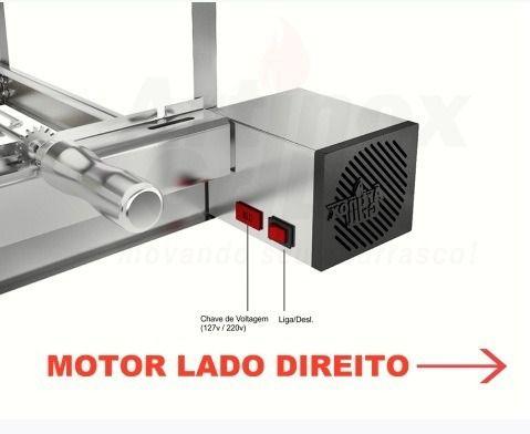 Churrasqueira Gira Grill Inox 5 Espetos 100% Inox MOTOR LADO DIREITO + 3 Acessórios