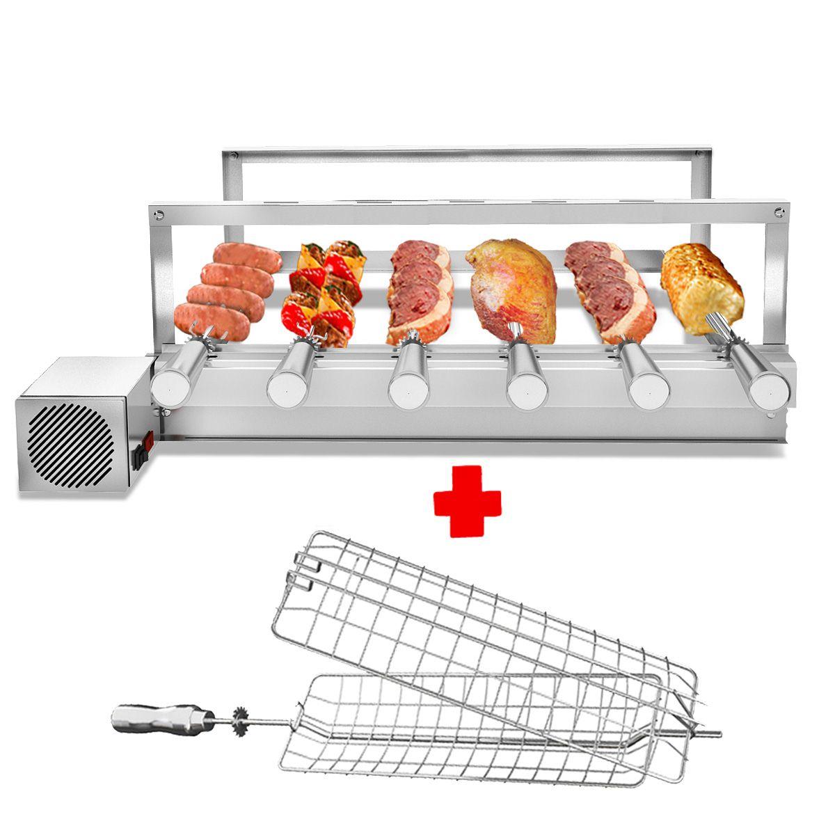 Churrasqueira Gira Grill Inox 6 Espetos Giratórios MOTOR LADO DIREITO  + 1 Grelha