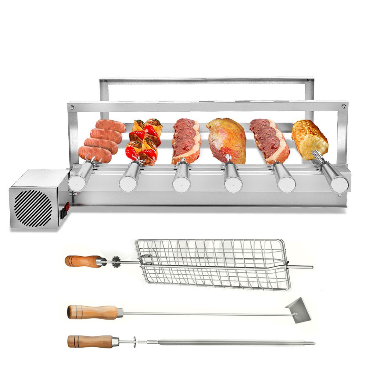 Churrasqueira Gira Grill Inox 6 Espetos Giratórios MOTOR LADO DIREITO + 3 Acessórios Inclusos