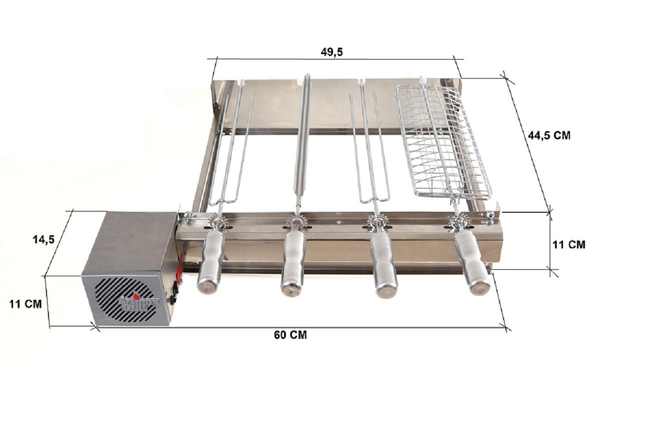 Churrasqueira Gira Grill Inox Elétrica Kit Baixo 4 Espetos Motor LADO DIREITO Bivolt