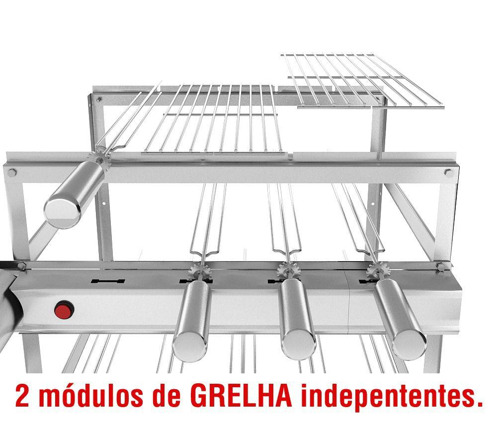 Churrasqueira Giragrill Inox 7 Espetos 3 Andares e 2 Motores Bivolt + 2 Grelhas Auxiliares