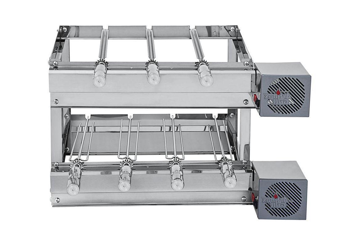 Churrasqueira Inox Gira Grill 7 Espetos Giratórios com 2 Andares e 2 Motores LADO DIREITO Bivolt