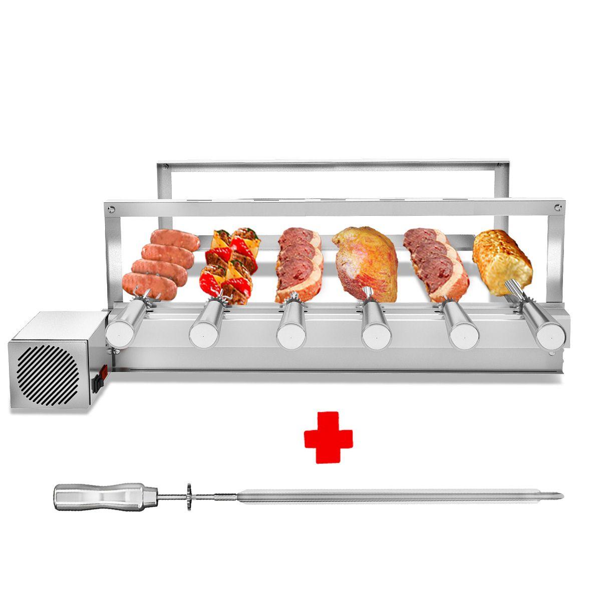 Churrasqueira Gira Grill Inox 6 Espetos Giratórios Motor LADO DIREITO Bivolt  + 1 Espeto Picanheiro
