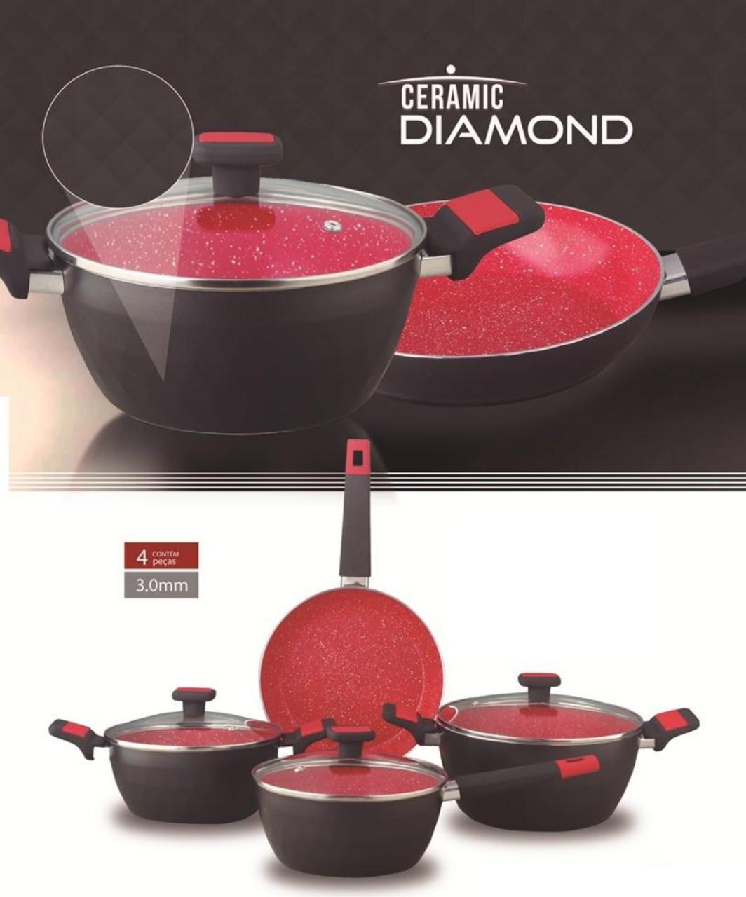 Jogo de Panelas de Cerâmica Diamond 4 Peças