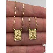 Escapulario Medio Tradicional Ouro Maciço 18k Corrente 60cm k3