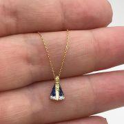 Colar Ouro 18k Nossa Senhora Com Pedras Pequena e Corrente