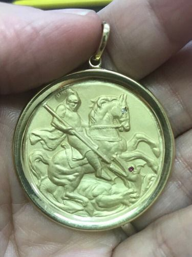 Medalha São Jorge Ouro 18k Brilhante E Rubi Natural 12.5gr
