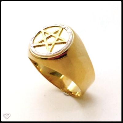 Anel Pentagrama Elo Branco em Ouro 18k Teor 750 Redondo Grande