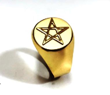 Anel Pentagrama Estrela de Cinco Pontas Ouro 18k Teor 750 Redondo Grande